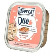 Happy cat Duo Menu Hydinové & Losos 100g